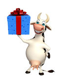 Fun Cow cartoon character with gift box Royalty Free Stock Photography