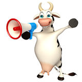 Fun Cow cartoon character with loudspeaker Stock Photography
