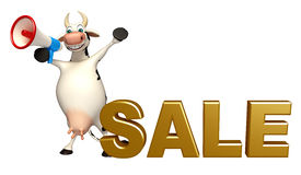 Fun Cow cartoon character with loudspeaker and sale sign Stock Image
