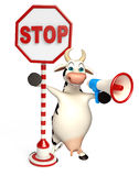 Fun Cow cartoon character with loudspeaker and stop sign Royalty Free Stock Photography