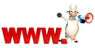 Fun Cow cartoon character with loudspeaker and www. sign Royalty Free Stock Photo