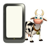 Fun Cow cartoon character with mobile Stock Images