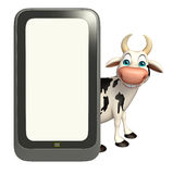 Fun Cow cartoon character with mobile Royalty Free Stock Images