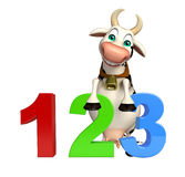 Fun Cow cartoon character with 123 sign Stock Images