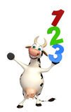 Fun Cow cartoon character with 123 sign. 3d rendered illustration of Cow cartoon character with 123 sign Royalty Free Stock Photos