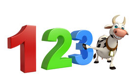 Fun Cow cartoon character with 123 sign. 3d rendered illustration of Cow cartoon character with 123 sign Stock Photo