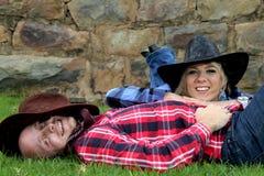 Fun cowboy couple shoot Stock Image
