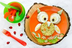 Fun and creative food idea for kids lunch owl rice with vegetabl Royalty Free Stock Photography