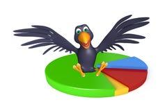 Fun Crow cartoon character  with circle sign Royalty Free Stock Photos