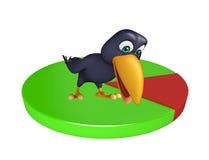 Fun Crow cartoon character  with circle sign Stock Photography
