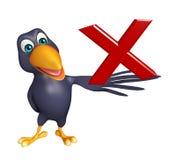 Fun Crow cartoon character with cross sign Stock Image