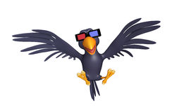 fun Crow cartoon character  with 3D gogal Royalty Free Stock Images