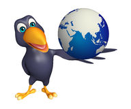Fun Crow cartoon character  with earth sign Stock Photos