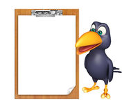 Fun Crow cartoon character  with exam pad Stock Photography