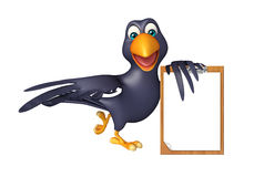 Fun Crow cartoon character  with exam pad Royalty Free Stock Images