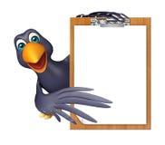 Fun Crow cartoon character  with exam pad Stock Photos