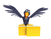 Fun Crow cartoon character with folder Royalty Free Stock Photos