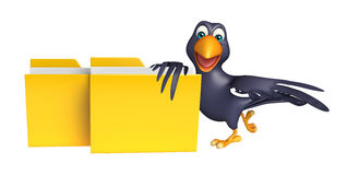 Fun Crow cartoon character with folder Royalty Free Stock Images