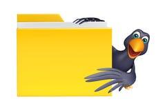 Fun Crow cartoon character with folder Stock Images
