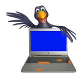 Fun Crow cartoon character with laptop Royalty Free Stock Image