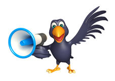 Fun Crow cartoon character with loud speaker Royalty Free Stock Image