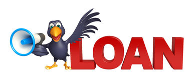 Fun Crow cartoon character with loud speaker and loan sign Stock Photos