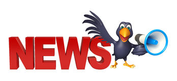 Fun Crow cartoon character with loud speaker and news sign Royalty Free Stock Image