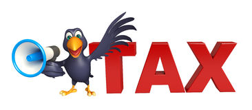 Fun Crow cartoon character with loud speaker and tax sign Stock Photos