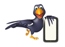 Fun Crow cartoon character   with mobile Stock Images