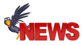 Fun Crow cartoon character with news sign Stock Photo