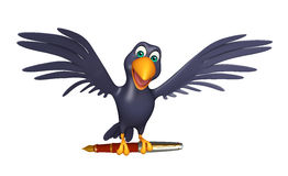 Fun Crow cartoon character with pen. 3d rendered illustration of Crow cartoon character with pen Stock Image