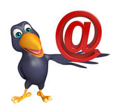 Fun Crow cartoon character with at the rate sign Royalty Free Stock Image