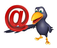 Fun Crow cartoon character with at the rate sign Stock Images