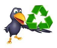 Fun Crow cartoon character  with recycle Stock Photos