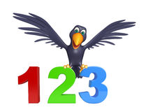 Fun Crow cartoon character  with 123 sign. 3d rendered illustration of Crow cartoon character with 123 sign royalty free illustration