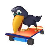 Fun Crow cartoon character  with skateboard Royalty Free Stock Photos