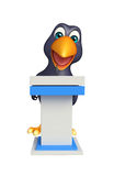 Fun Crow cartoon character   with speech chair Royalty Free Stock Image