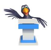 Fun Crow cartoon character   with speech chair Royalty Free Stock Photos