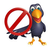 Fun  Crow cartoon character with stop sign Royalty Free Stock Photos