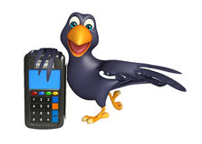 fun  Crow cartoon character with swap machine Royalty Free Stock Images