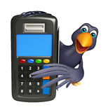 fun  Crow cartoon character with swap machine Royalty Free Stock Photo