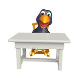 Fun Crow cartoon character with table and chair Stock Images