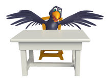 Fun Crow cartoon character with table and chair Stock Photography
