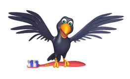 Fun Crow cartoon character with tooth brush Royalty Free Stock Photography