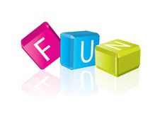 Fun - cube letters Stock Photography
