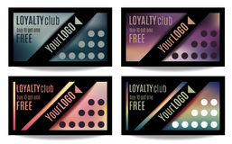 Fun customer loyalty card templates. Set of four Customer loyalty card or reward card templates stock illustration