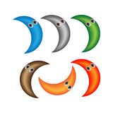 Fun cute cartoon character moon. Stock Photography