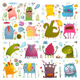 Fun Cute Cartoon Monsters for Kids Design Stock Images
