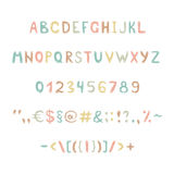 Fun and cute childrens alphabet and figures. Fun and cute color childrens alphabet and figures Royalty Free Stock Image