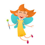 Fun cute fairy girl with wings and a magic wand Royalty Free Stock Photo